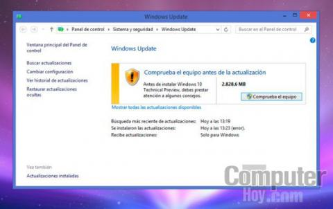 Windows Update detecta la actualización a Windows 10 y la descarga en tu equipo.