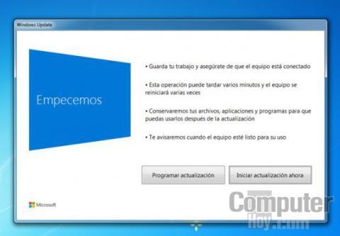 Un asistente analiza tu equipo e instala la nueva versión de Windows 10
