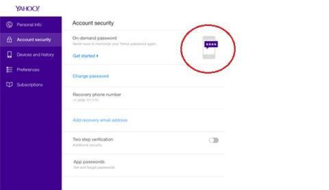 Yahoo! contraseña bajo demanda