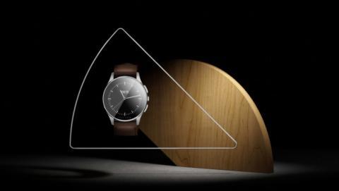 Vector Watch. Luna, con correa de cuero marrón.
