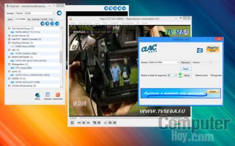 La sincronización debe realizarse con SopCast o AceStream en funcionamiento