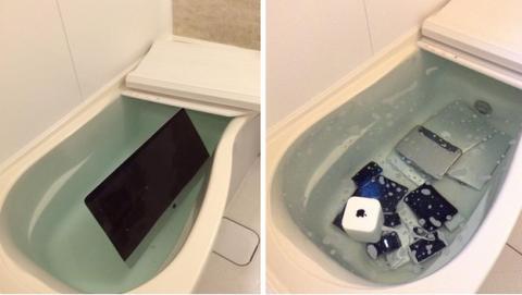 """Pesadilla """"geek"""": su novia tira su iPhone y su iMac de Apple a la bañera"""