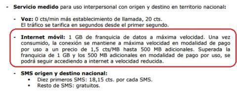 Movistar límite tarifa de datos