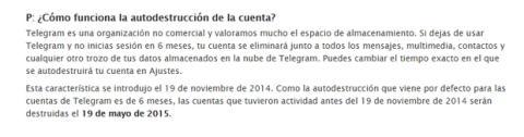 Telegram cierre de cuentas inactivas