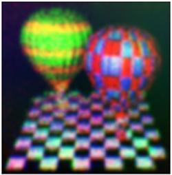 Imagen obtenida en una pantalla holográfica 3D de grafeno