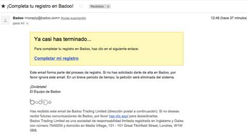 confirmación correo Badoo