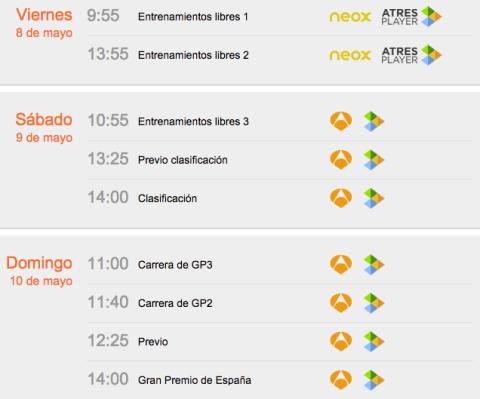 horarios GP de España 2015