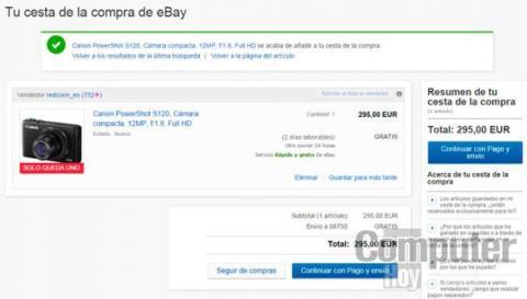 Puedes añadir tus compras a la cesta de eBay y seguir comprando