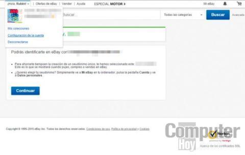 Accede a la configuración de tu cuenta de usuario de eBay
