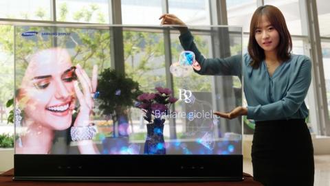 Samsung presenta espejos y pantallas OLED transparentes con cámaras Intel RealSense.