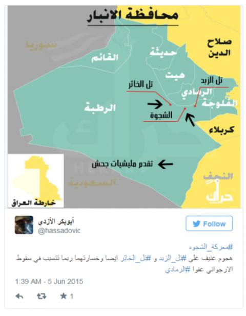 Mapa de la batalla falsa del troll de Twitter elaborado por un usuario