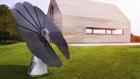 Girasol fotovoltaico que abastece el hogar con energía solar