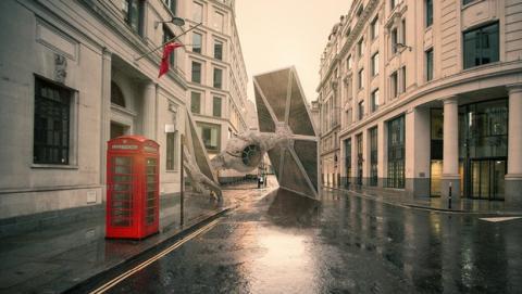 Arte de Star Wars. Naves estrelladas sobre grandes ciudades. Autor: Nicolas Amiard