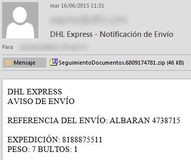 Correo falso de DHL Express que contiene malware
