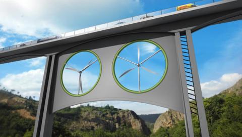 Nueva fuente de energía limpia: viaducto con aerogeneradores