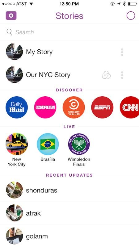 Snapchat reordena sus secciones