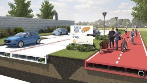 Holanda pavimentar carreteras plástico reciclado