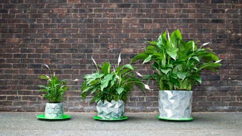 Growth, el tiesto de origami que crece de tamaño con la planta.