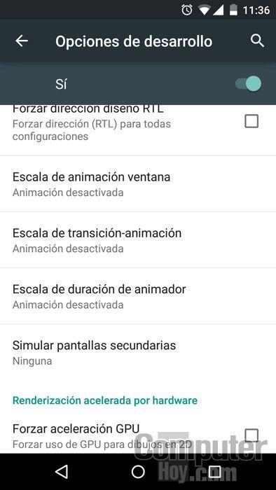 Desactiva las animaciones de Android