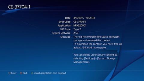 Un error en Play Station 4 impide escribir en el disco duro