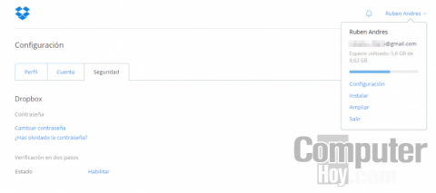 Activa la verificación en dos pasos de Dropbox