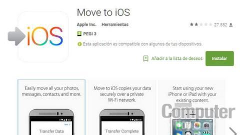 Move to iOS app de Apple para Android