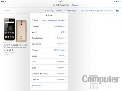 Filtra los resultados de las búsquedas en la app de eBay