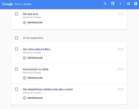 Google historial voz