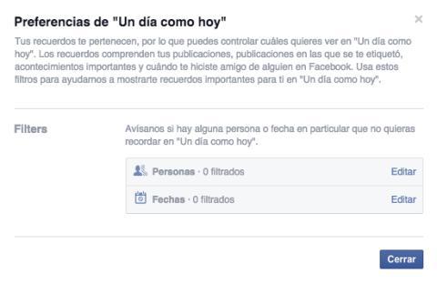 Facebook permite filtrar los recuerdos y no ver los tristes