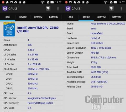 CPU-Z Asus ZenFone 2 ZE551ML
