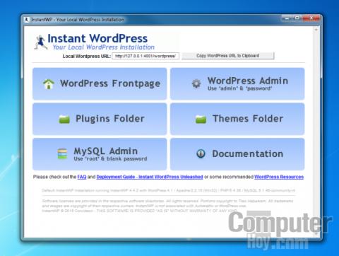 Primeros pasos con Instant WordPress