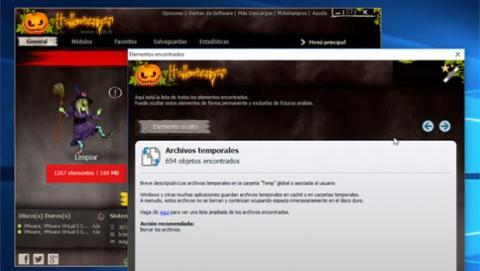 Ashampoo WinOptimizer 11 Halloween Edition elimina los archivos temporales de tu Windows