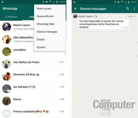 WhatsApp para Android ya permite crear mensajes favoritos
