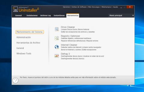 Ashampoo Uninstaller 6 incluye otras herramientas para optimizar el sistema