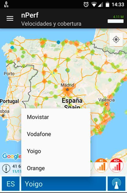 El mapa de cobertura de nPerf te ofrece información de todos los operadores