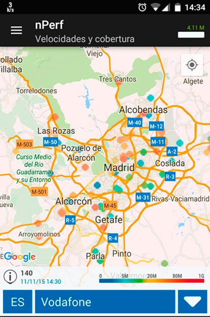 El mapa también puede mostrar los datos de velocidad de descarga en tu dispositivo móvil