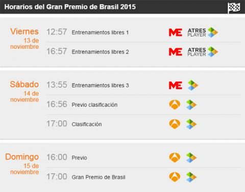 Horarios GP Brasil F1