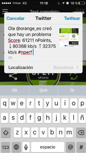 Con nPerf puedes compartir los resultados con tu operador para notificar averías.