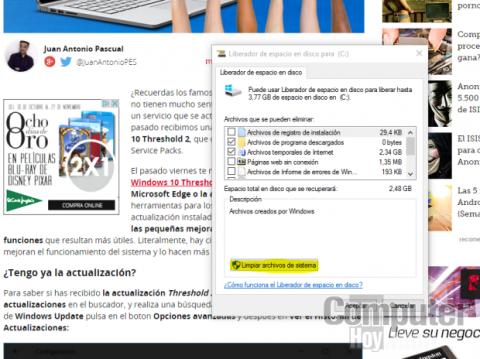 recuperar espacio windows actualización