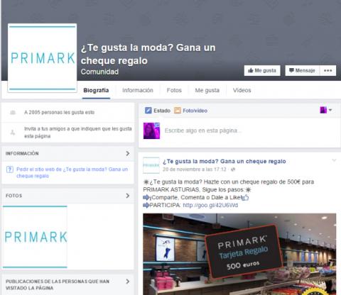 Estafa de cheques regalo de Primark se propaga en Facebook