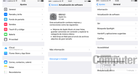 Cómo actualizar iOS 9.2 de Apple