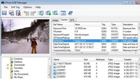 Datos exif de las fotografías