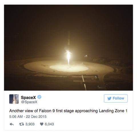 SpaceX publicación en Twitter
