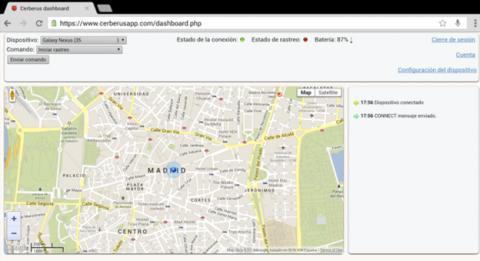 Interfaz de Cerberus aplicación antirrobo para Android