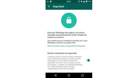 Menú secreto de seguridad en WhatsApp