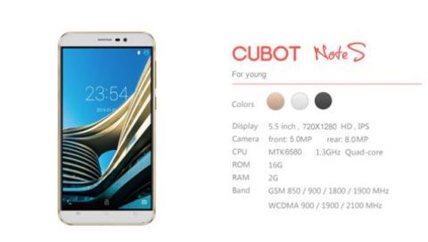 Cubot Note S, un phablet chino de 5,5 con unas características muy interesantes y por el increíble precio de 64,64 euros.