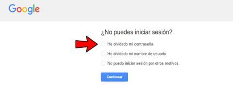 Recuperar contraseña de Gmail