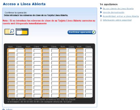 Tarjeta de coordenadas de La Caixa