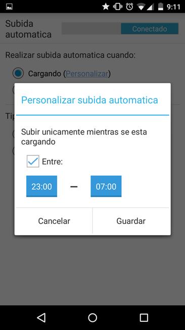 Configura el horario para el backup