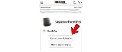 REEMBOLSO AMAZON EN CHEQUE REGALO O PAGO ORIGINAL
